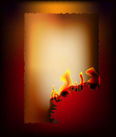 brownish: on a dark background, illuminated by light from inside the fire, the old brownish paper with burnt edges, one corner burned, the flames are creeping.