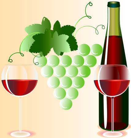 against the background of the vine two glasses of red wine and a bottle Stock Vector - 8174331