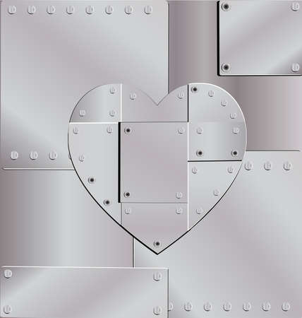 sheet iron: from sheet metal, fastened with rivets, lined with iron heart