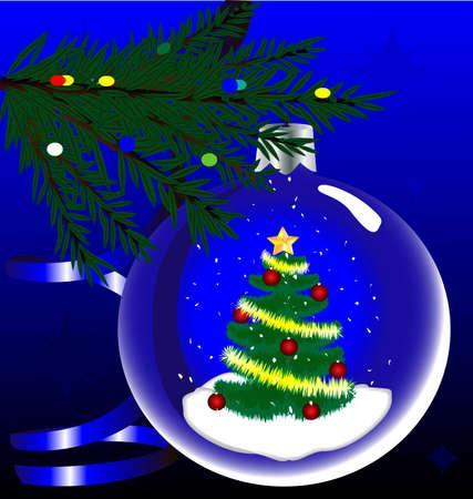 spruce: en las ramas de picea azul con decoraciones de Navidad  Vectores
