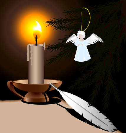 burning paper: on a dark background burning candle, an old pen and a blank sheet of paper, pine branch on which a Christmas angel