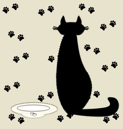 on a beige background of textile silhouette black cat next to a bowl of milk Vector