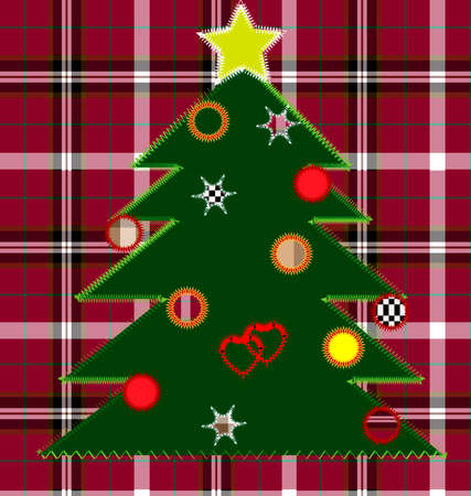 against the backdrop of a red checkered cloth simulation Embroidery - Christmas Tree Vector