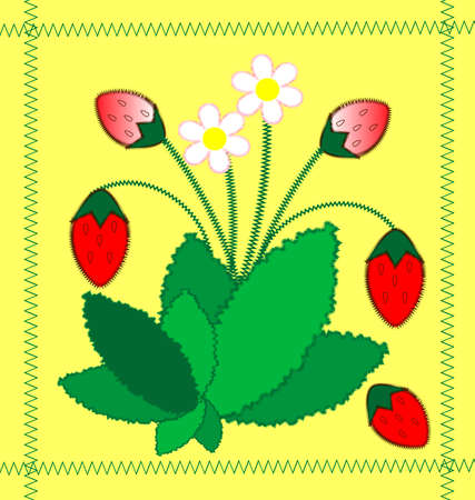 on a yellow background imitation embroidery strawberry bush with berries and flowers Stock Vector - 8246059