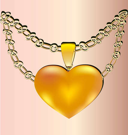felicitate: on a pink background of a large gold heart on a chain of gift in the form of jewelry Illustration