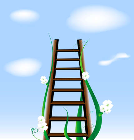 against the blue sky and clouds - a ladder, surrounded by flowers, leading up Vector