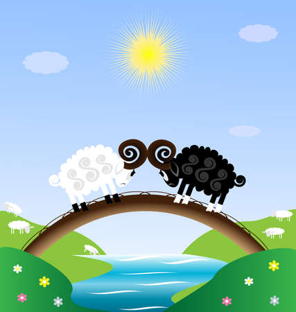 two roads: two sheep Illustration
