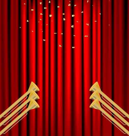 fanfare: against the backdrop of a red curtain gold fanfare