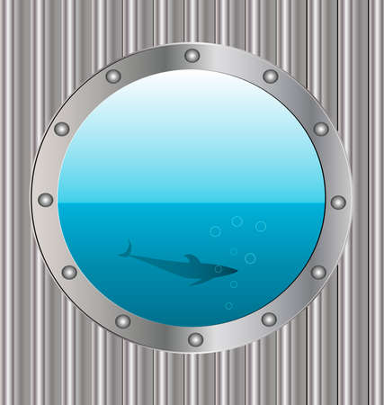 metalline: on a metal background large porthole in it - the sea and the silhouette of a big fish