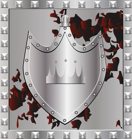 background silver shield Stock Vector - 8387131