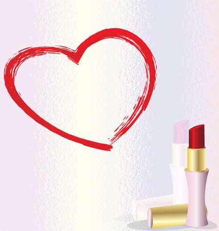 lipstick heart Stock Photo - 8387135