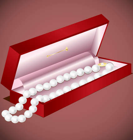 felicitate: in a decorative red box pearl beads