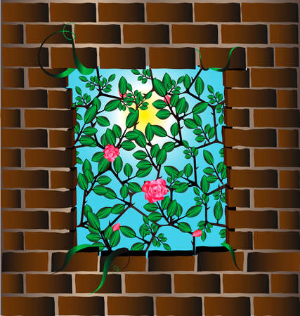 wall of bricks with a hole in the middle, through which the visible rose bush against the sky Stock Vector - 8490589