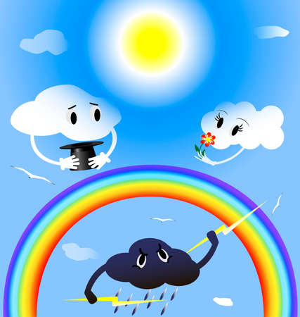 in the blue sky two lovers clouds, rainbow, beneath a thundercloud is angry at them Vector