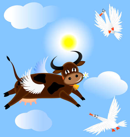 in the blue sky flying funny cow, two birds surprised her  イラスト・ベクター素材
