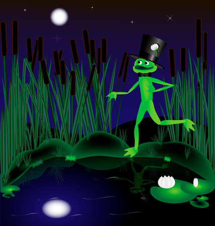 moonlit night on the shore of the pond elegant frog sings about his love Stock Vector - 8578042