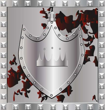 escudo militar: en un marco de plata de escudo militar con el emblema de una corona