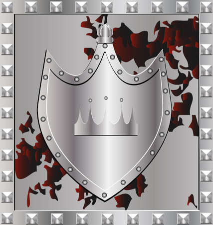 heroism: in a silver frame military shield with the emblem of a crown Stock Photo