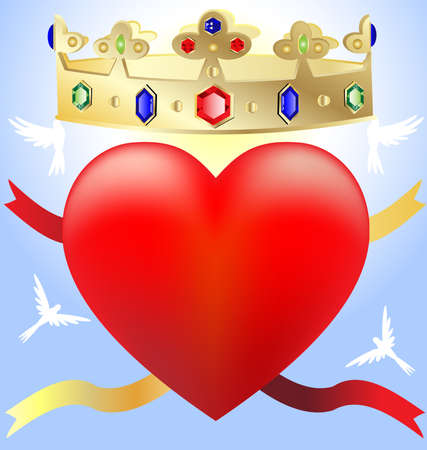 on a blue background a big scarlet heart on him a golden crown with jewels, ribbons and behind the white birds Stock Photo - 8578035