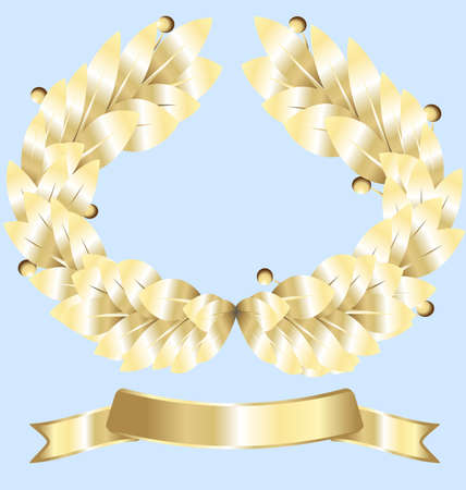 felicitate: on white background gold laurel wreath and a gold ribbon winner