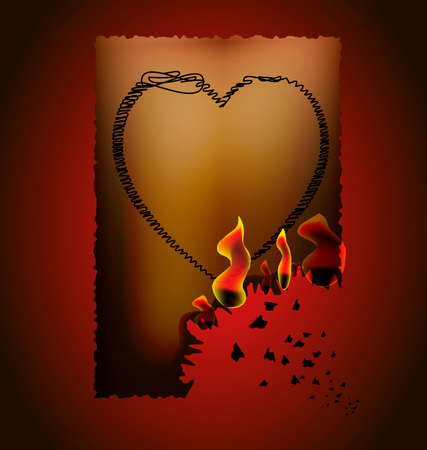 unrequited love: on a dark-red background, the brownish paper with burnt edge, on paper painted heart