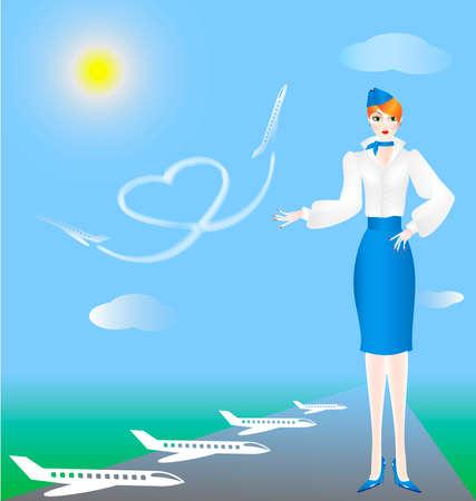 azafata de vuelo: el cielo azul avi�n corazones en ellos de mano de pintura indica azafata