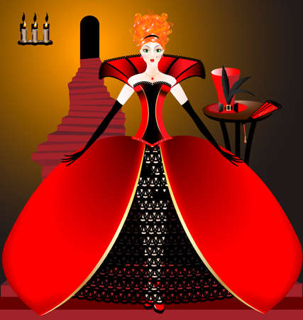 on the stairs, lighted by candles, is spectacular red-haired woman in red magnificent dress, behind the table where the hat and fan