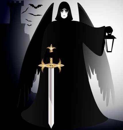 diablo y angel: un caballero de dark angel g�tico - negro con una espada y una linterna en la mano