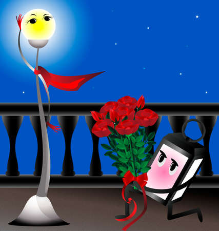 acquaintance: on the bridge lamp in love brings a bouquet of red roses beautiful lighting mast