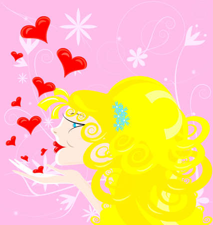 on an abstract rose background blonde girl sends kisses Vector