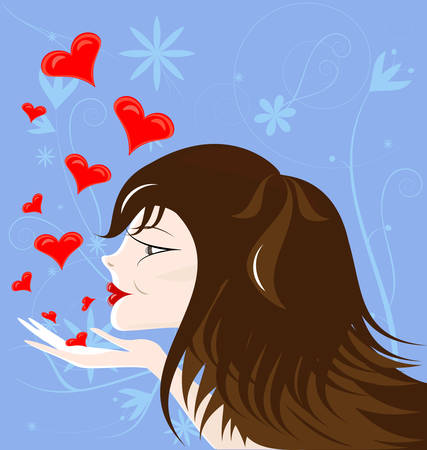 on an abstract blue background brown-haired girl sends kisses Stock Vector - 8687026