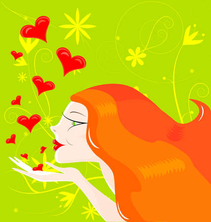 on an abstract green background red-haired girl sends kisses Stock Vector - 8687027