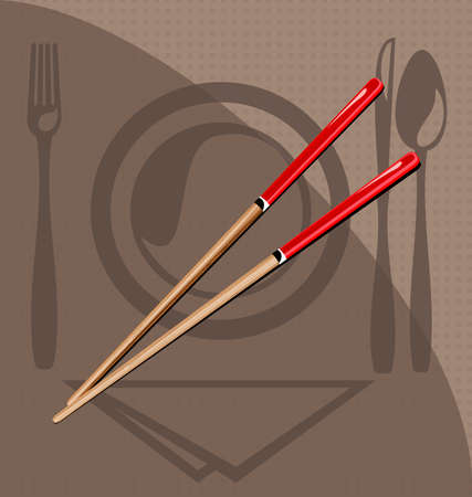 food production: on the background pattern - тableware - are chopsticks Illustration
