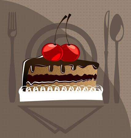 simbol: sullo sfondo di un pezzo di mestoli di torta al cioccolato con ciliegie Vettoriali
