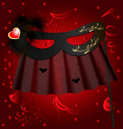 against the red background of the carnival black half mask decorated feathers and veil Stock Vector - 8757697