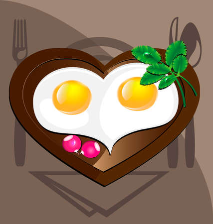 against the background of cookware eggs in a heart-shaped, decorated with greens and radishes Vector