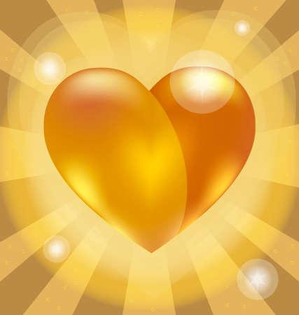 point chaud: sur un fond jaune avec hotspot un grand coeur or Illustration