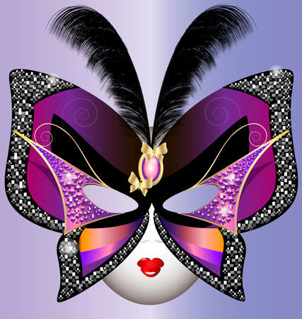 carnival mask: against the violet background of the carnival butterfly mask decorated feathers