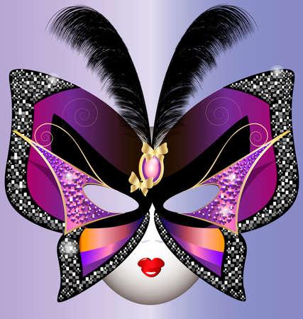 mascara de carnaval: contra el fondo violeta de la m�scara de mariposa de Carnaval decorado plumas