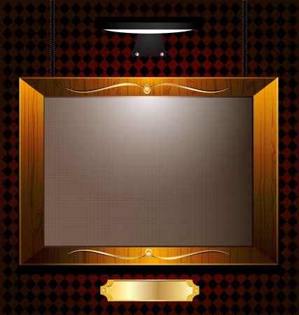 esporre: sulla parete buia illuminata da cornice a parete lampade immagine vuota, sotto un piatto d'oro