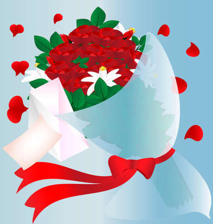 on a blue background in a red flowers, petals in a heart-shaped, envelope and letter Vector