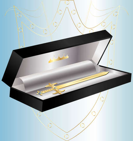 felicitate: in a decorative black box miniature golden sword Illustration