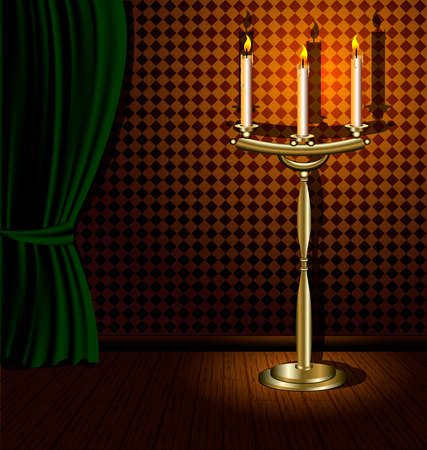 curtian: a darkened room with a green awning on the wooden floor is a large chandelier a with three candles