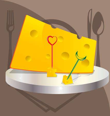 small plate: against the background of cookware a large piece of cheese on a silver platter