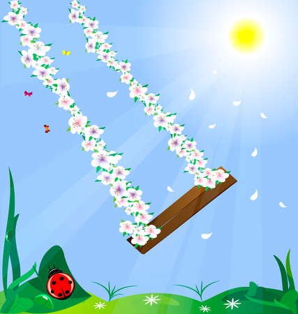 sympathy: in the sun and blue sky swing woven from flowers Illustration
