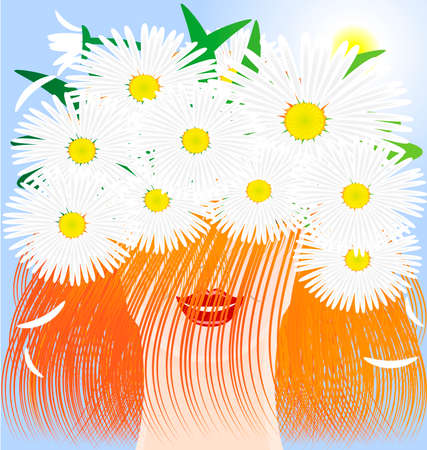 in the sun and blue sky head red-haired smiling girl wearing a crown of daisies Stock Vector - 8757706