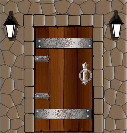 puertas viejas: en el muro de piedra antigua puerta de madera, junto a dos linterna