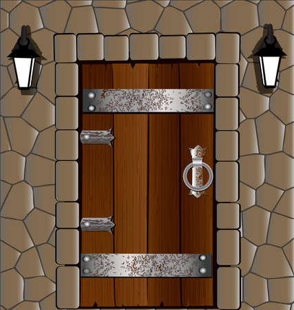 in de oude houten deur stenen muur, naast twee lantaarn
