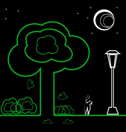 on-black night landscape: the moon, stars, trees, shrubs, lights and a walking cat Vector