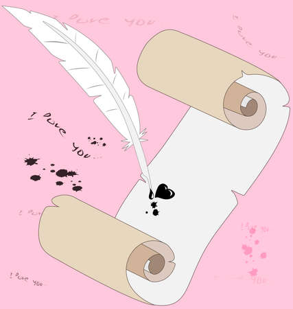 love declarations: on a pink background declarations of love, a roll of paper and an old pen, from which falls the blot in the form of heart
